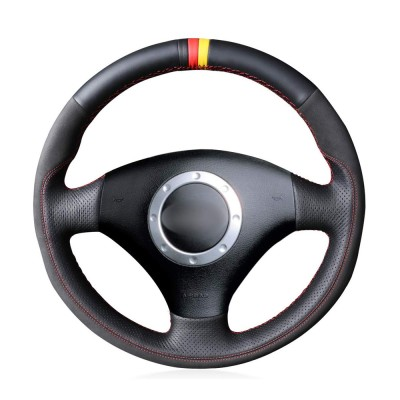 Loncky Auto Custom Fit OEM Black Genuine Leather Car Steering Wheel Cover for A2 8Z A3 8L Sportback A4 B6 Avant A6 C5 A8 D2 TT 8N S3 S4 RS4 RS6 Accessories