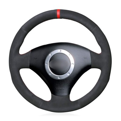 Loncky Auto Custom Fit OEM Black Suede Car Steering Wheel Cover for A2 8Z A3 8L Sportback A4 B6 Avant A6 C5 A8 D2 TT 8N S3 S4 RS4 RS6 Accessories