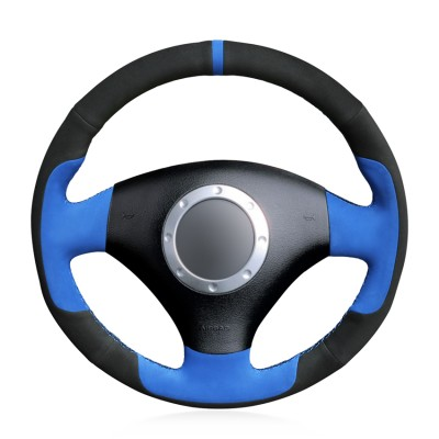 Loncky Auto Custom Fit OEM Black Blue Suede Car Steering Wheel Cover for A2 8Z A3 8L Sportback A4 B6 Avant A6 C5 A8 D2 TT 8N S3 S4 RS4 RS6 Accessories