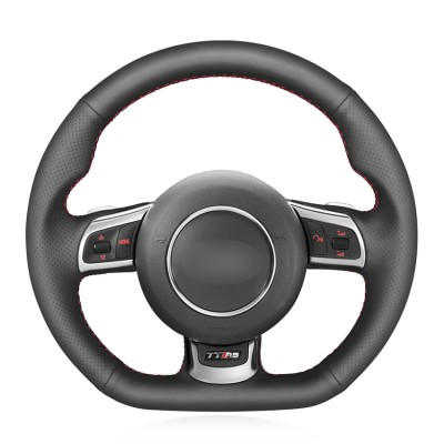 Loncky Auto Custom Fit OEM Black Genuine Leather Car Steering Wheel Cover for Audi TT RS (8J) 2009-2014 RS3 (8P) Sportback 2011-2013 RS6 (C6) Avant