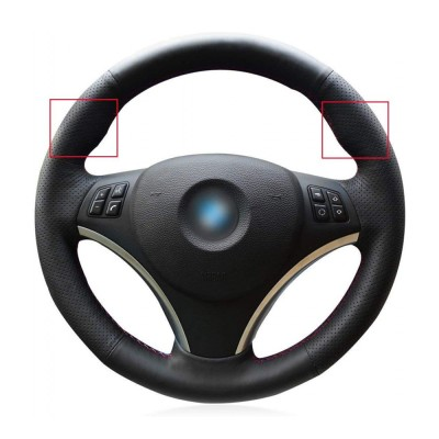 Loncky Auto Black Genuine Leather Steering Wheel Cover for BMW E90 128 I 135 I / BMW 325 I 328 I 328 XI 328 I XDrive / BMW 330 XI / BMW 335 I 335 XI 335 D 335 I XDrive Accessories