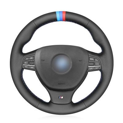 Loncky Car Custom Fit OEM Black Genuine Leather Steering Wheel Cover for BMW M Sport F10 F11 F07 M5 F10 2011-2013 F12 F13 F06 F01 F02 Accessories