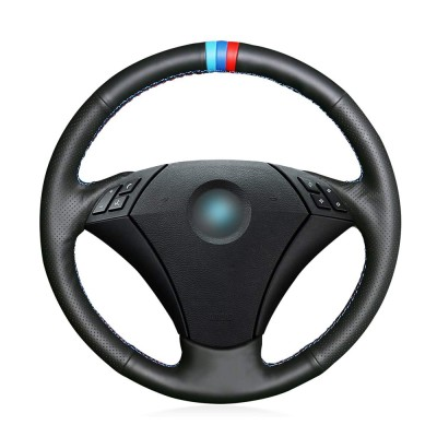 Loncky Auto Custom Fit OEM Black Genuine Leather Car Steering Wheel Cover for BMW 5 Series E60 E61 2004 2005 2006 2007 2008 2009 2010 Accessories