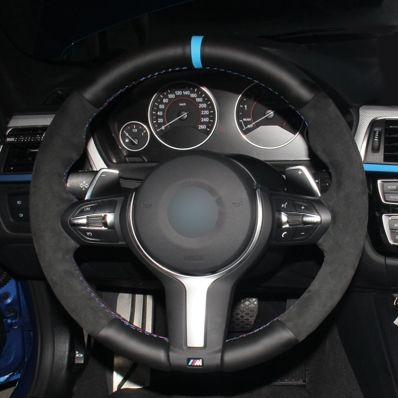 Loncky Auto Custom Fit Black Genuine Leather Suede Car Steering Wheel Cover for BMW M F86 F87