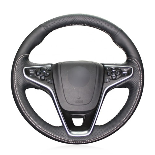 Loncky Auto Custom Fit OEM Black Genuine Leather Suede Car Steering Wheel Cover for Buick Regal Turbo 2014 2015 2016 2017 Opel Insignia 2014 2015 2016 2017 Accessories