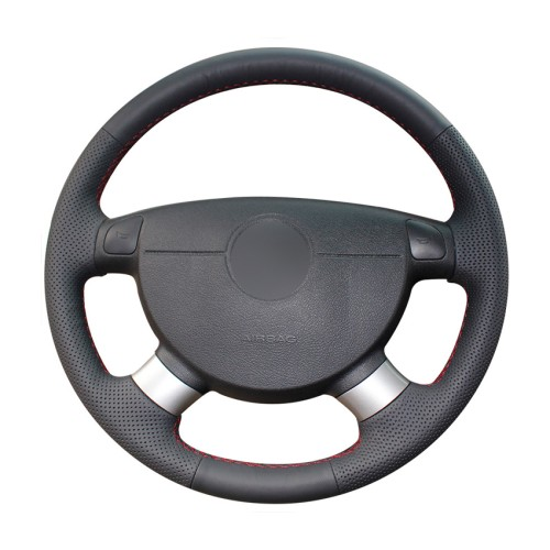 Loncky Auto Custom Fit OEM Black Genuine Leather Car Steering Wheel Cover for Chevrolet Lova Aveo Buick Excelle Daewoo Gentra 2013-2015 Accessories