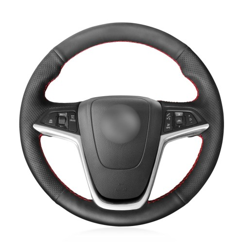 Loncky Auto Custom Fit OEM Black Genuine Leather Car Steering Wheel Cover for Buick Excelle XT GT Encore Opel Mokka Opel Insignia Astra J Meriva Zafira C Accessories