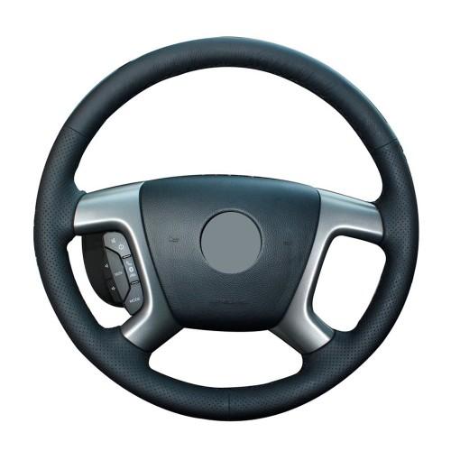 Loncky Auto Black Genuine Leather Steering Wheel Cover for Chevrolet 2008-2013 Silverado 1500 / Silverado 2500 3500/ 2007-2014 Tahoe / 2007-2014 Suburban 1500 / 2007-2013 Avalanche 1500 / 2009-2015 Traverse / Express Accessories