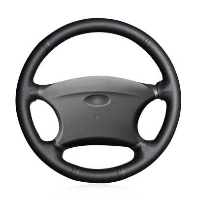 Loncky Car Custom Fit OEM Black Genuine Leather Steering Wheel Cover for Chevrolet Niva 2002-2009 Lada 2110 2011-2014 Accessories