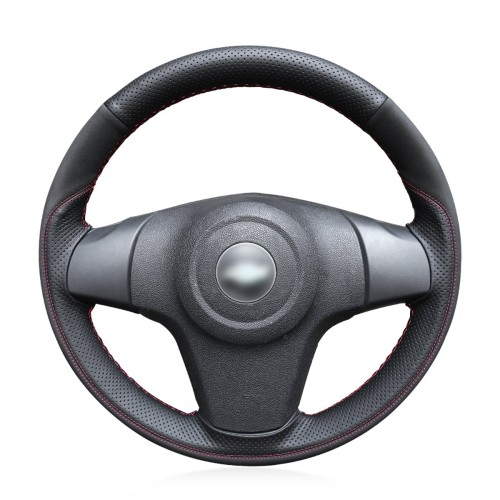 Loncky Auto Custom Fit OEM Black Genuine Leather Black Suede Steering Wheel Covers for Chevrolet Niva 2009-2017 (3-Spoke) for Opel Corsa (D) 2006-2015 for Vauxhall Corsa (D) 2006-2015 (Without bulges)