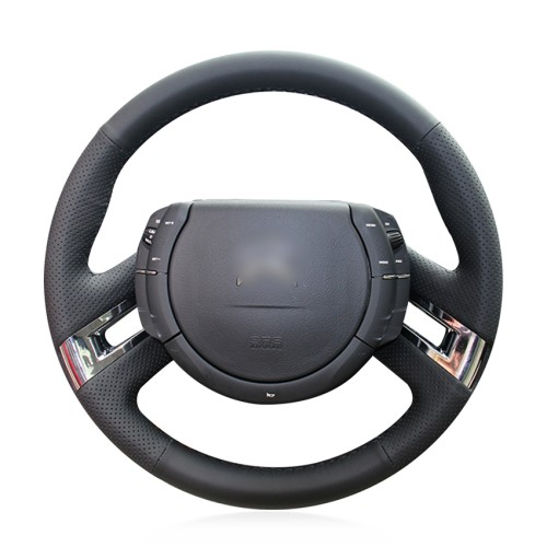 Loncky Auto Custom Fit OEM Black Genuine Leather Steering Wheel Cover for Citroen C4 Picasso 2007 2008 2009 2010 2011 2012 2013 Accessories