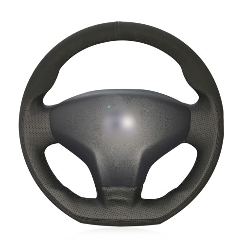 Loncky Auto Custom Fit OEM Black Genuine Leather Black Suede Steering Wheel Cover for Citroen Elysee C-Elysee 2014 New Elysee Peugeot 301 2013 2014 2015 2016 Accessories