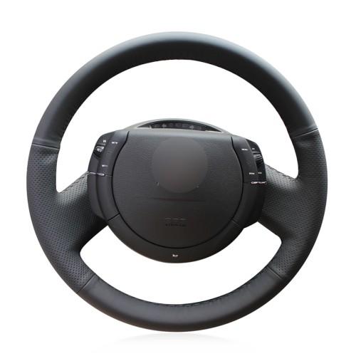 Loncky Auto Custom Fit OEM Black Genuine Leather Steering Wheel Cover for Citroen Triumph C4 2005 2006 2007 2008 2009 2010 Accessories