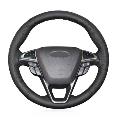 Loncky Auto Custom Fit OEM Black Genuine Leather Car Steering Wheel Cover for Ford Fusion 2013 2014 2015 2016 2017 2018 2019 2020 Ford EDGE 2015 2016 2017 2018 2019 2020 Accessories