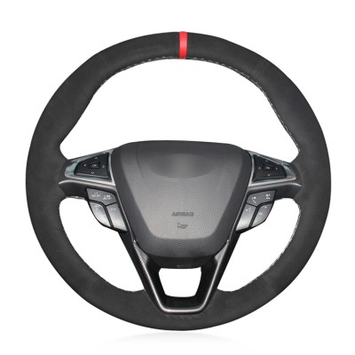 Loncky Auto Custom Fit OEM Black Suede Steering Wheel Covers for Ford Mondeo Fusion 2013 2014 2015 2016 2017 2018 2019 Ford EDGE 2015-2019 Accessories