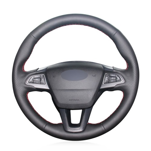 Loncky Auto Custom Fit OEM Black Genuine Leather Steering Wheel Covers for Ford Focus 3 2015-2018 Ford Kuga 2016-2019 Ford Escape 2017-2019 Ford C-MAX 2015-2019 Ford Ecosport 2018-2019
