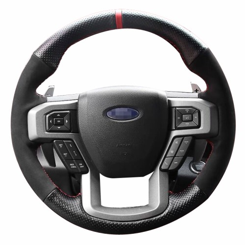 Loncky Auto Custom Fit OEM Black Genuine Leather Car Steering Wheel Cover for Ford F-150 Raptor F150 Raptor 2017 2018 2019 2020 Accessories