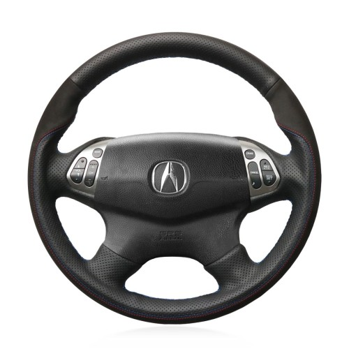 Loncky Auto Custom Fit OEM Black Genuine Leather Car Steering Wheel Cover for Acura TL 2004 2005 2006 Accessories