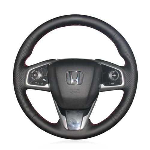 Loncky Auto Custom Fit OEM Black Genuine Leather Car Steering Wheel Cover for Honda Civic Civic 10 2016 2017 2018 2019 CRV CR-V 2017 2018 2019 Clarity 2016 2017 2018 Accessories