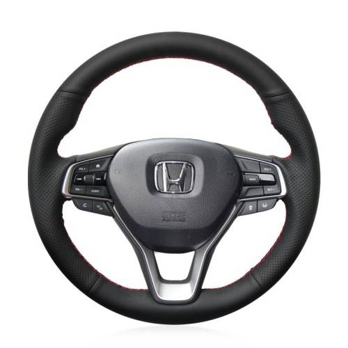 Loncky Auto Custom Fit OEM Black Genuine Leather Car Steering Wheel Cover for Honda Accord 10 2018 2019 Insight 2019 Accessories