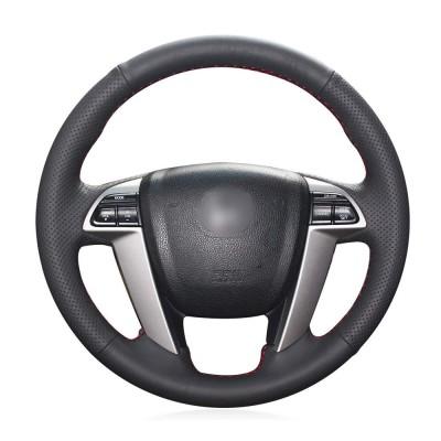 Loncky Auto Custom Fit OEM Black Genuine Leather Car Steering Wheel Cover for Honda Accord 8 2008-2012 / Honda Odyssey EX-L Touring 2011-2016 / Honda Pilot EX-L Pilot Touring 2011-2015 Pilot Touring Accessories