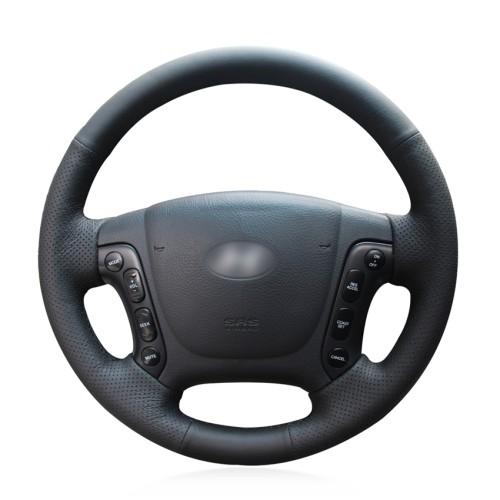 Loncky Car Custom Fit OEM Black Genuine Leather Steering Wheel Cover for Hyundai Santa Fe 2007 2008 2009 2010 2011 2012 Accessories
