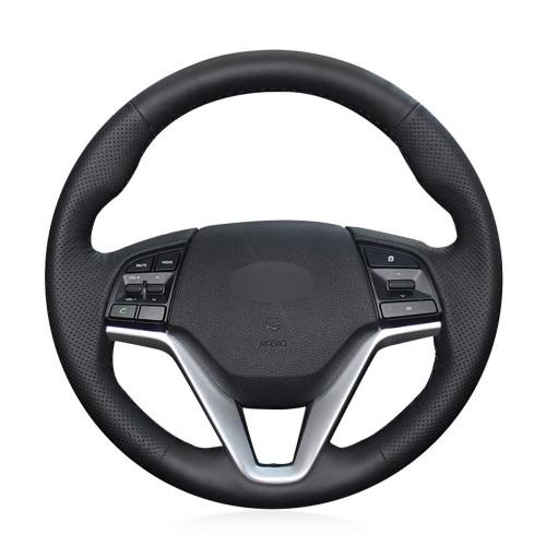 Loncky Car Custom Fit OEM Black Genuine Leather Steering Wheel Cover for Hyundai Tucson 3 2015 2016 2017 2018 2019 Interior Accessories