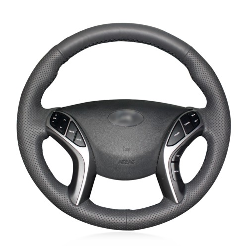 Loncky Car Custom Fit Black Genuine Leather Steering Wheel Cover for Hyundai Elantra 3 2011-2016 / Elantra Sport 2011-2016 / Elantra GT 2013-2017 / Elantra Coupe 2013-2014 / Avante 2011 / i30 2012-2017 Accessories