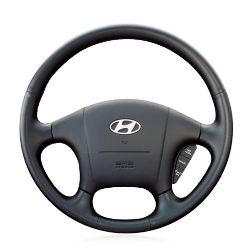 Loncky Auto Custom Fit OEM Black Genuine Leather Car Steering Wheel Cover for Hyundai Sonata 1999 2000 2001 2002 2003 2004 2005 Accessories