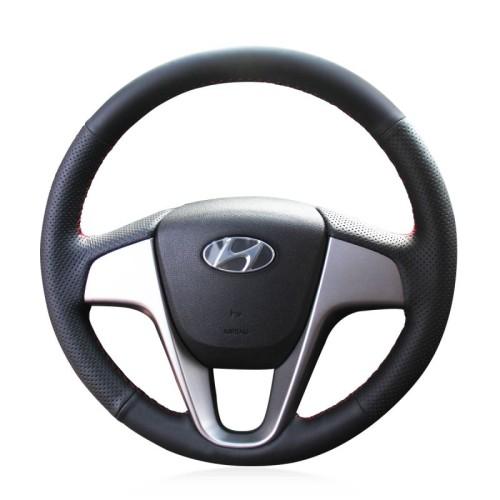Loncky Auto Custom Fit OEM Black Genuine Leather Car Steering Wheel Cover for Hyundai Solaris Verna 2010 2011 2012 2013 2014 2015 2016 i20 2009-2015 Accent 2012-2017