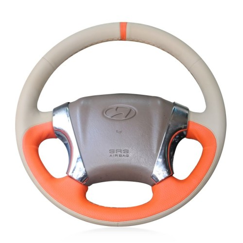 Loncky Auto Custom Fit OEM Genuine Leather Car Steering Wheel Cover for Hyundai Tucson 2006 2008 2008 2009 2010 2011 2012 2013 2014 Accessories