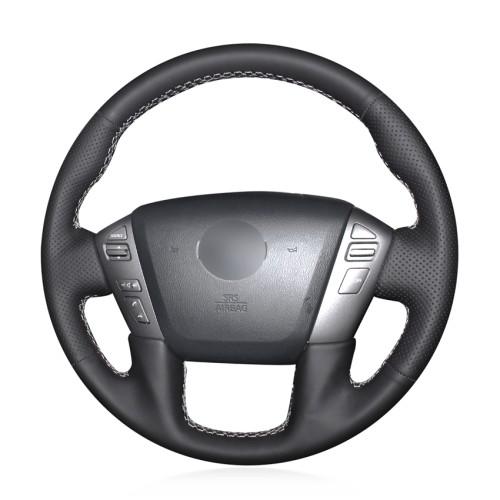 Loncky Auto Custom Fit OEM Black Genuine Leather Car Steering Wheel Cover for Nissan Patrol 2011-2017 Armada 2013-2019 NV Cargo NV Passenger (US) 2012-2018 Titan 2013-2018 Infiniti QX56 2011-2013 QX80 2014-2019