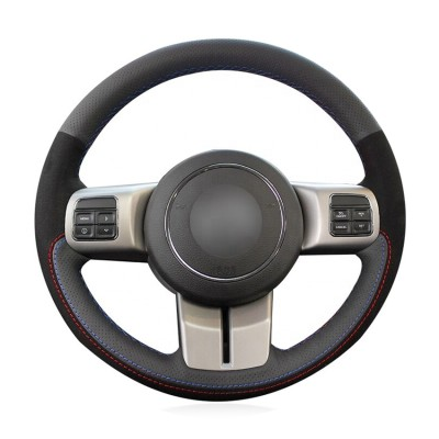 Loncky Auto Custom Fit OEM Black Genuine Leather Suede Car Steering Wheel Cover for Jeep Compass 2011-2017 / Jeep Patriot 2011-2017 / Jeep Wrangler 2011-2018 / Jeep Grand Cherokee Laredo 2011-2013 / Jeep Liberty 2011 2012 Accessories