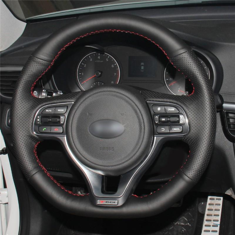 2016 Kia Optima Accessories >> Loncky Auto Custom Fit OEM Black Genuine Leather Steering Wheel Covers for Kia K5 Optima 2016 ...
