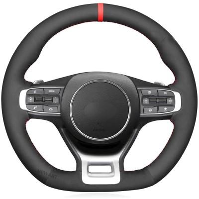 Loncky Custom Fit Hand Stitched Car Black Genuine Leather Suede Carbon Fiber Steering Wheel Cover for Kia K5 GT GT-Line Sedan 2021 2022 / Kia Optima Interior Accessories