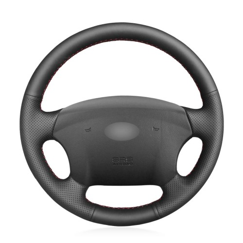 Loncky Auto Custom Fit OEM Black Genuine Leather Steering Wheel Covers for Kia Carens 2007-2011 Rondo 2007-2010 Hyundai Entourage 2007-2008 Accessories
