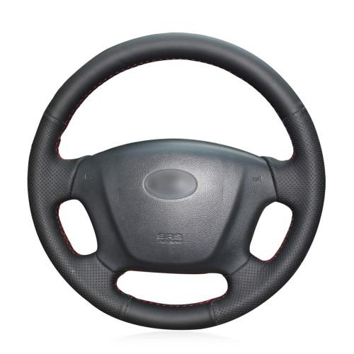 Loncky Auto Custom Fit OEM Black Genuine Leather Steering Wheel Covers for Hyundai Sonata NF 2005-2006 Kia Carens 2007 2008 2009 2010 2011 Accessories