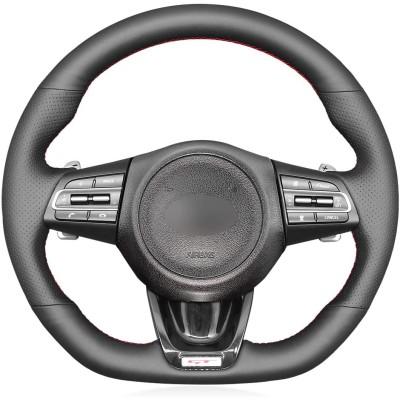 Loncky Custom Fit Hand Stitched OEM Black Genuine Leather Suede Carbon Fiber Steering Wheel Cover for Kia Stinger GT GT1 GT2 GTS Stinger GT-Line 2018 2019 2020 2021 2022 Car Interior Accessories