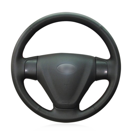 Loncky Auto Custom Fit OEM Black Genuine Leather Steering Wheel Covers for Kia Rio 2005 2006 2007 2008 2009 for Hyundai Accent 2006 2007 2008 2009 2010 2011 Getz 2005 2006 2007 2008 2009 2010 2011 Accessories