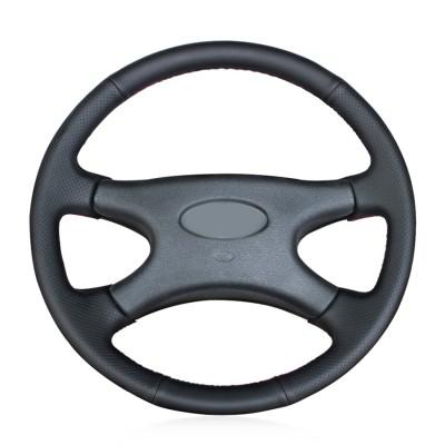 Loncky Black Genuine Leather Custom Fit Car Steering Wheel Cover for Lada Niva 2006 2007 2008 2009 2010 2011 2012 2013 2014 2015 2016 2017 Accessories