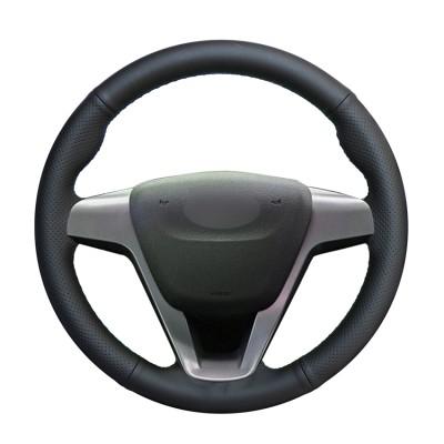 Loncky Car Custom Fit OEM Black Genuine Leather Steering Wheel Cover for Lada Vesta 2015 2016 2017 2018 2019 Lada Xray 2015 2016 2017 2018 2019 Accessories