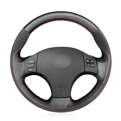 Loncky Auto Custom Fit OEM Black Genuine Leather Black Suede Steering Wheel Covers for Lexus is IS250 IS250C IS300 IS300C IS350 IS350C F Sport 2005-2011 Accessories
