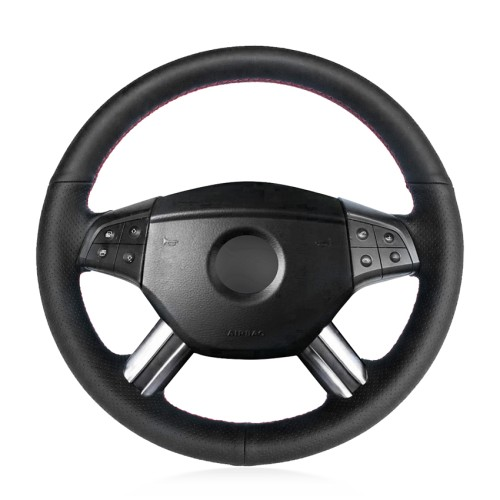 Loncky Auto Custom Fit OEM Black Genuine Leather Steering Wheel Cover for Mercedes Benz M-Class ML350 ML500 ML550 GL-Class GL320 GL450 GL550 R-Class R320 R350 R500 Accessories
