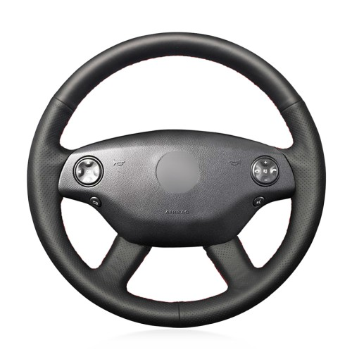 Loncky Car Custom Fit OEM Black Genuine Leather Steering Wheel Cover for 2007 2008 2009 Mercedes Benz S550 / 2007 2008 2009 Mercedes Benz S550 4MATIC / 2007 2008 2009 Mercedes Benz S600 Accessories
