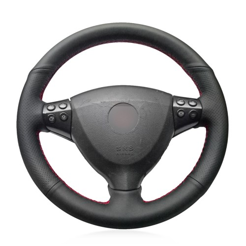 Loncky Car Custom Fit OEM Black Genuine Leather Steering Wheel Cover for Mercedes Benz A-Class A160 A180 E-CELL 2009-2012 Accessories
