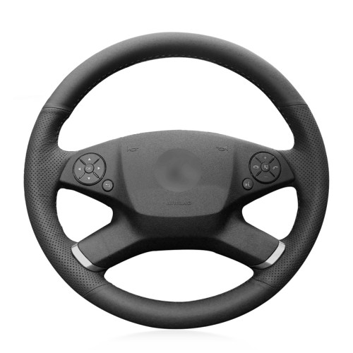 Loncky Auto Custom Fit OEM Black Genuine Leather Steering Wheel Cover for Mercedes Benz E350 2010 2011 Mercedes Benz E550 Accessories