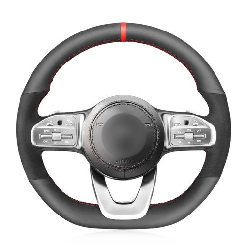 Loncky Car Custom Fit OEM Black Genuine Leather Suede Steering Wheel Cover for Mercedes-Benz A-Class W177 B-Class W247 C-Class W205 E-Class W213 S-Class W222 G-Class W463