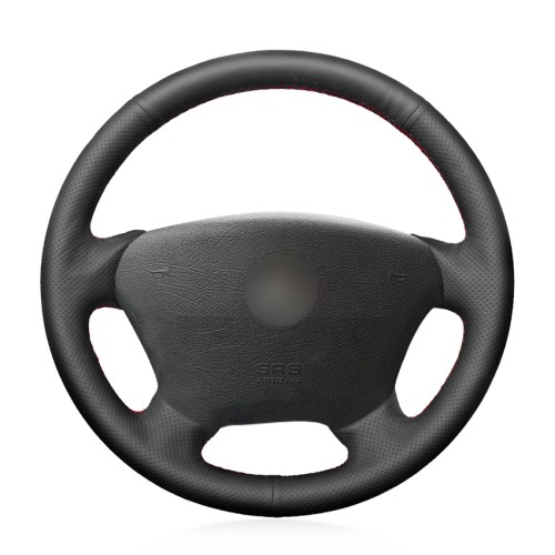Loncky Car Custom Fit OEM Black Genuine Leather Steering Wheel Cover for Mercedes-Benz W163 M-Class ML230 ML270 ML320 ML350 ML430 ML500 1997-2005 Accessories