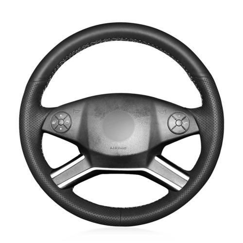 Loncky Auto Custom Fit OEM Black Genuine Leather Steering Wheel Cover for Mercedes Benz GL320 GL350 GL450 GL550/Mercedes Benz ML350 ML550/Mercedes Benz R320 R350 Accessories