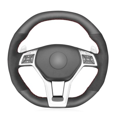 Loncky Auto Custom Fit OEM Black Genuine Leather Black Suede Steering Wheel Covers for Mercedes-Benz A 45 AMG 2013-2015 / CLA 45 AMG 2013-2014 / C 63 AMG 2013-2015 / E 63 AMG 2012-2015 / GLA 45 AMG 2015